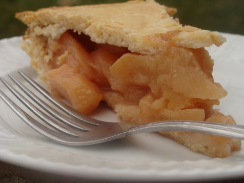 Close-up of a slice of quince pie on a plate with a fork