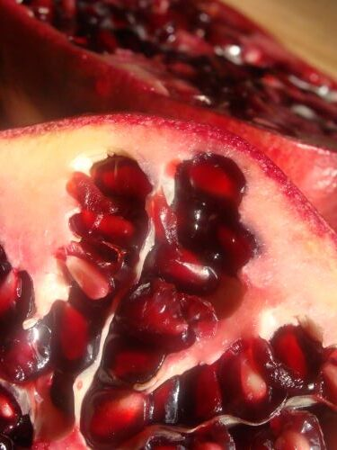 Close-up image of the inside of a pomegranate