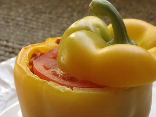 Close-up of a stuffed yellow bell pepper