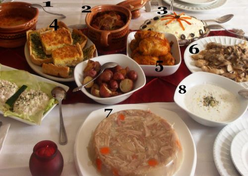 A table of Macedonian holiday dishes labeled with numbers 1-8