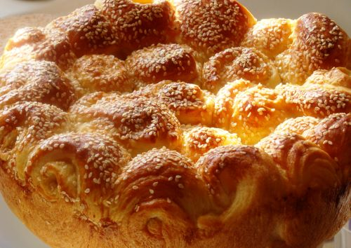 A round batch of Macedonian Celebratory Bread