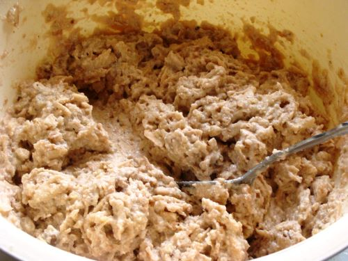 A bowl of Apple Pie Cake batter