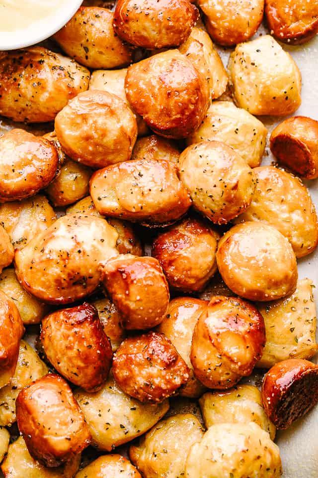 pretzel bites served on plate