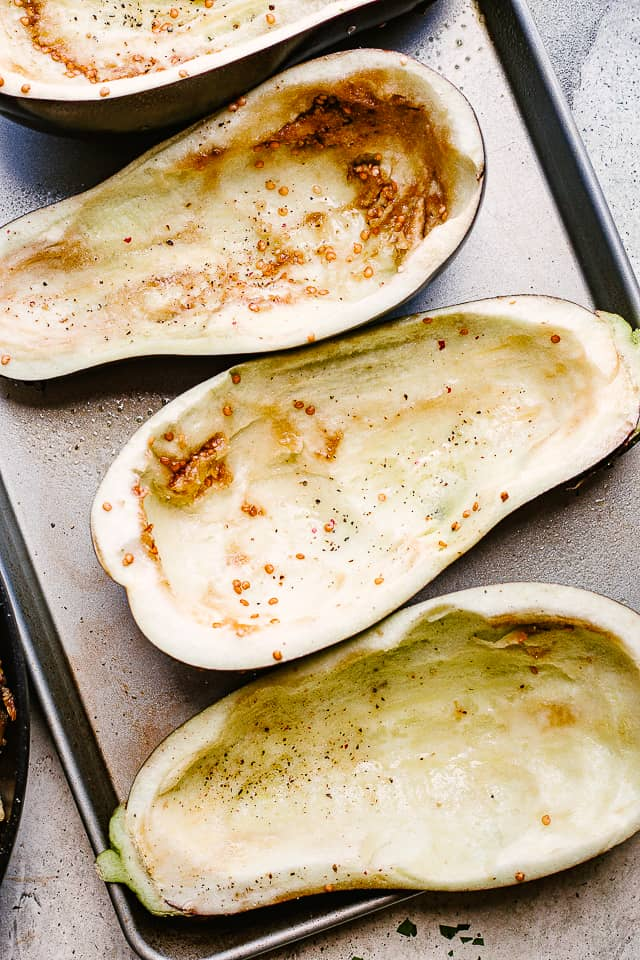 hollowed out eggplant-halves.