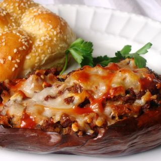 St. Trifun's Day: Sausage Stuffed Eggplant