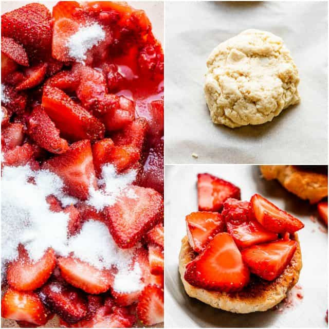 collage of step by step photos for how to make strawberry shortcakes