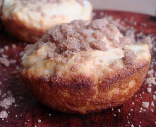 Side view of a muffin with crumble topping