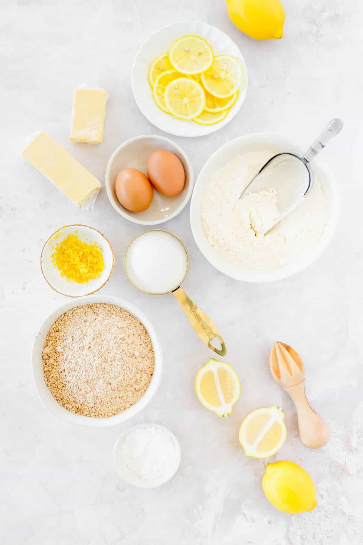 Ingredients to make lemon cookies measured