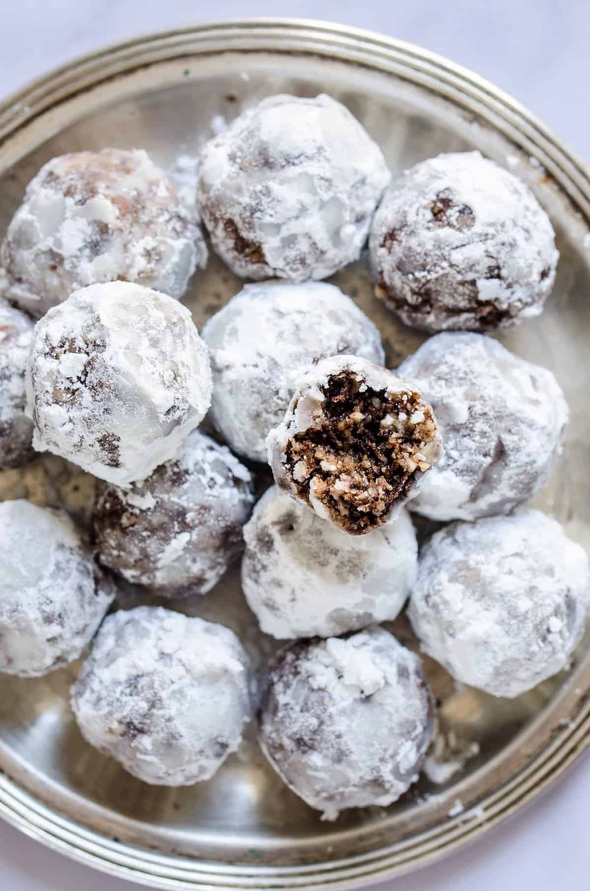 A silver plate with homemade bourbon balls