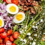 bacon eggs asparagus salad pinterest image