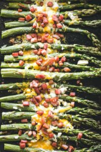 Garlic Roasted Asparagus with Bacon and Cheese