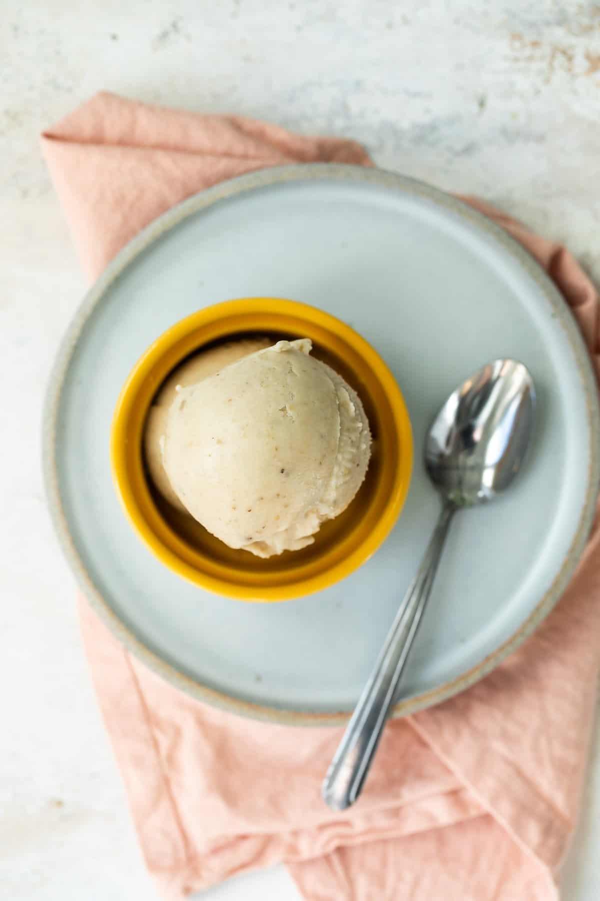 Bowl of banana frozen yogurt.