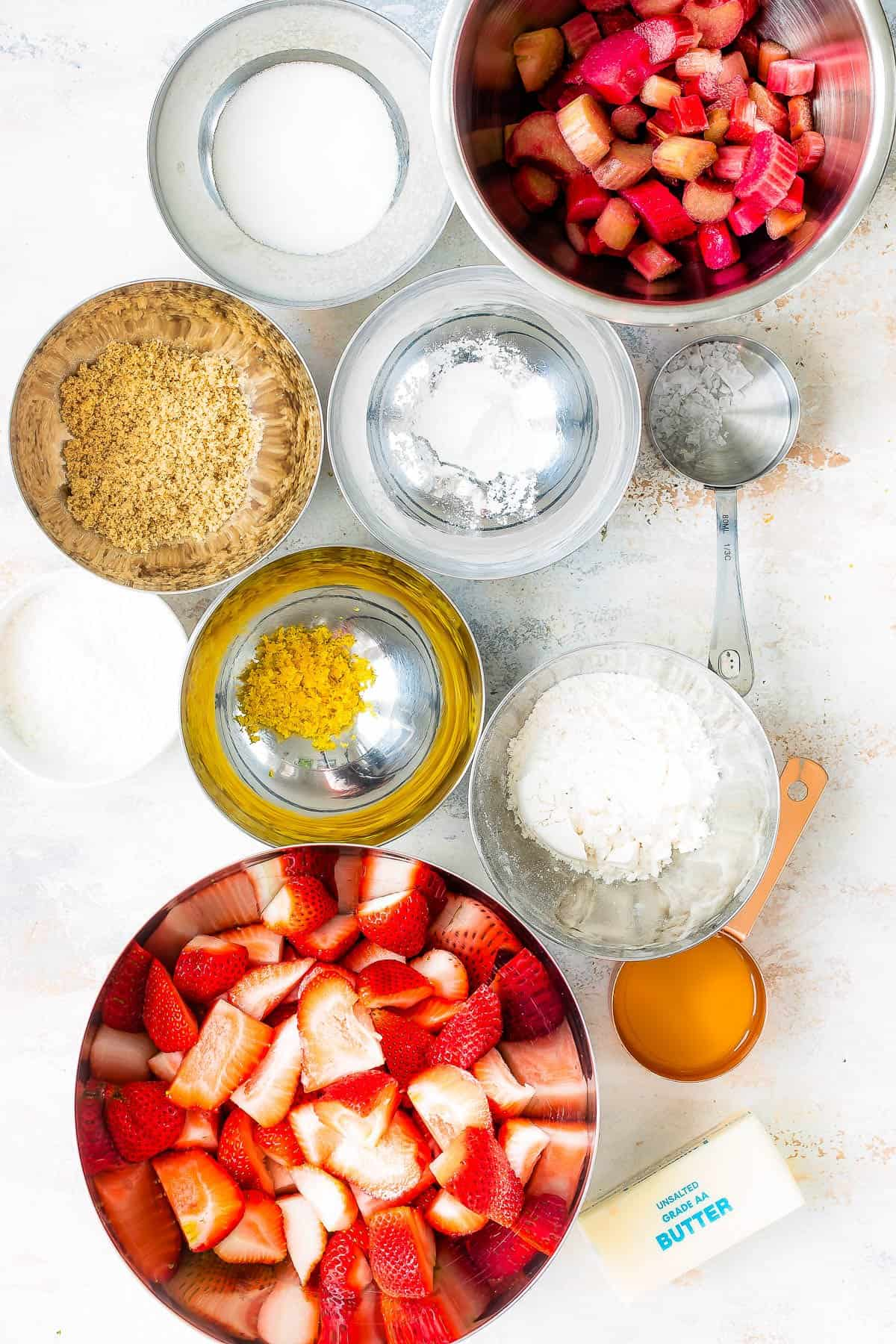 Ingredients for strawberry rhubarb crumble.