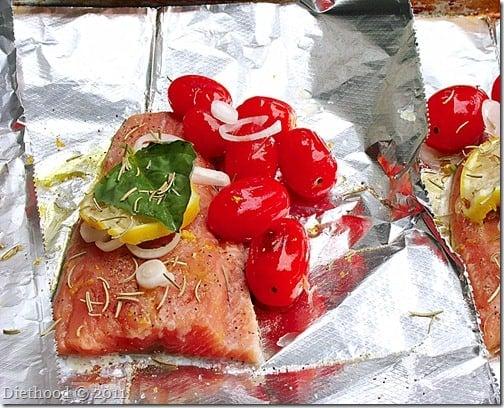preparing salmon