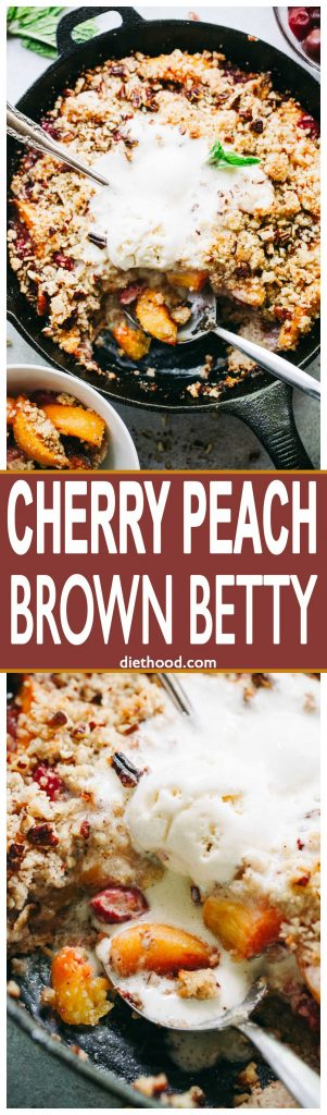 Cherry Peach Brown Betty Recipe - Delicious and easy to make skillet-baked Brown Betty packed with juicy peaches and sweet cherries!