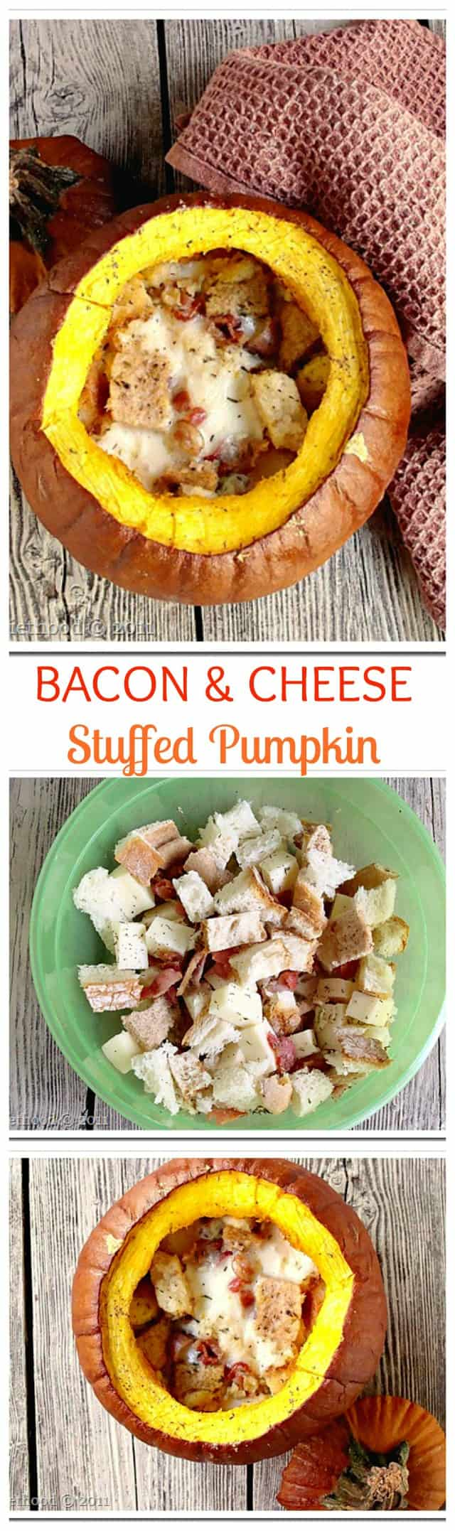 Bacon and Cheese Stuffed Pumpkin www.diethood.com