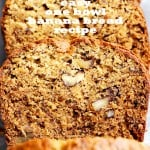 Easy One Bowl Banana Bread Recipe - Easy to make and lightened-up delicious banana bread recipe with crunchy pecans and loads of banana flavor.
