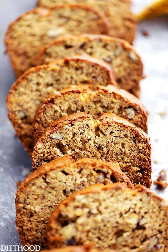 Slices of banana bread.