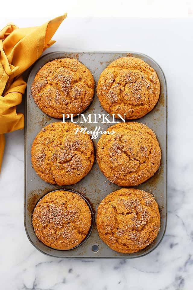 Pumpkin Muffins | www.diethood.com | Packed with pumpkin and topped with cinnamon-sugar, these Pumpkin Muffins are soft, fluffy, moist, and absolutely delicious!