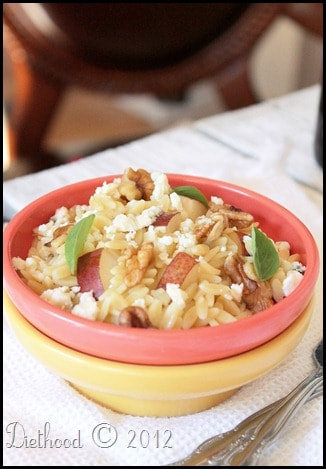 Orzo Salad with Pears, Walnuts, & Gorgonzola
