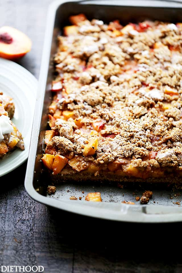 Peach Crumb Bars - Sweet, fruity, delicious bars made with fresh peaches tucked inside a lightened-up buttery crust.