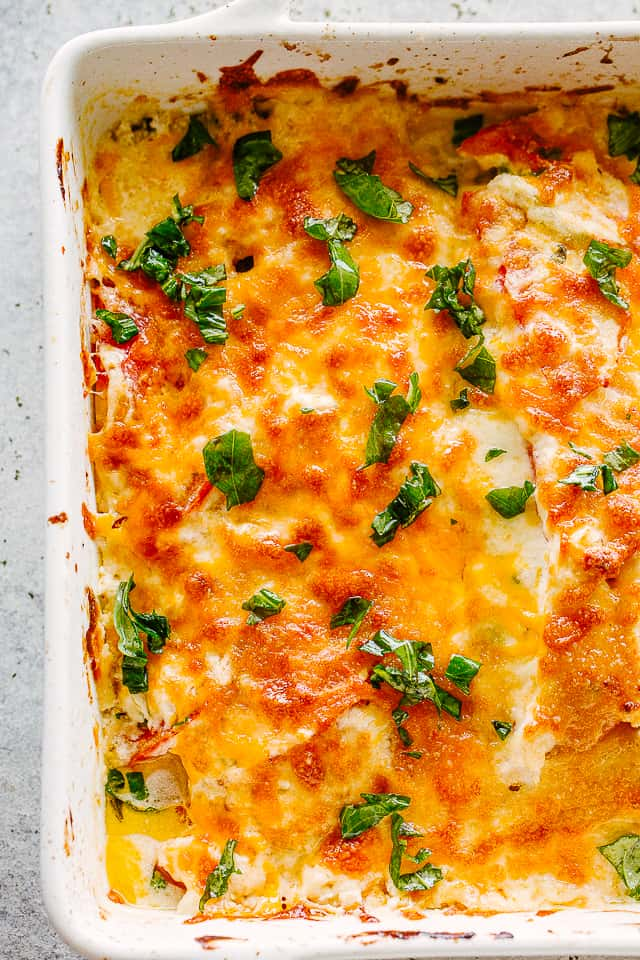 Baked Zucchini Casserole in a baking dish.