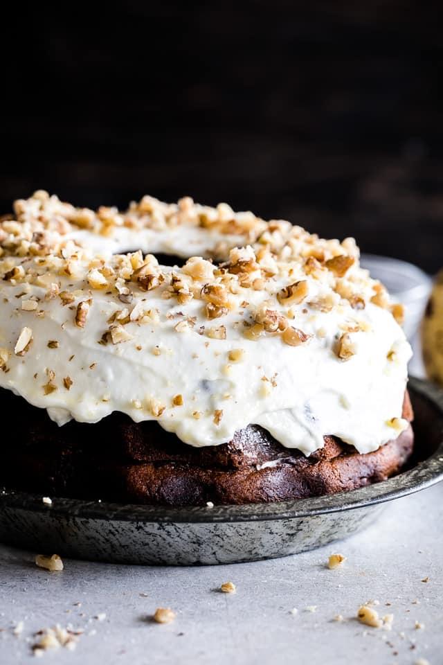 Banana Cake, zucchini cake, maple frosting, cream cheese, walnuts, easy cake recipe
