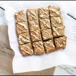 Blondies with Caramel Bits and White Chocolate Drizzle