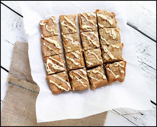 Blondies with Caramel Bits and White Chocolate Drizzle via diethood.com