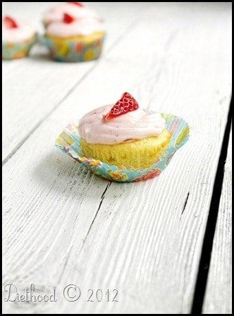 Yogurt Cupcakes with Strawberry Cream Cheese Frosting via diethood.com