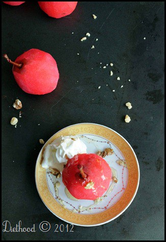blushing poached pears | @diethood