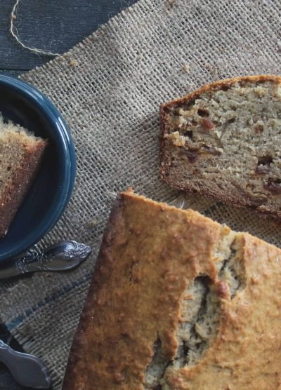 Peanut Butter Banana Bread with Candied Bacon by Diethood