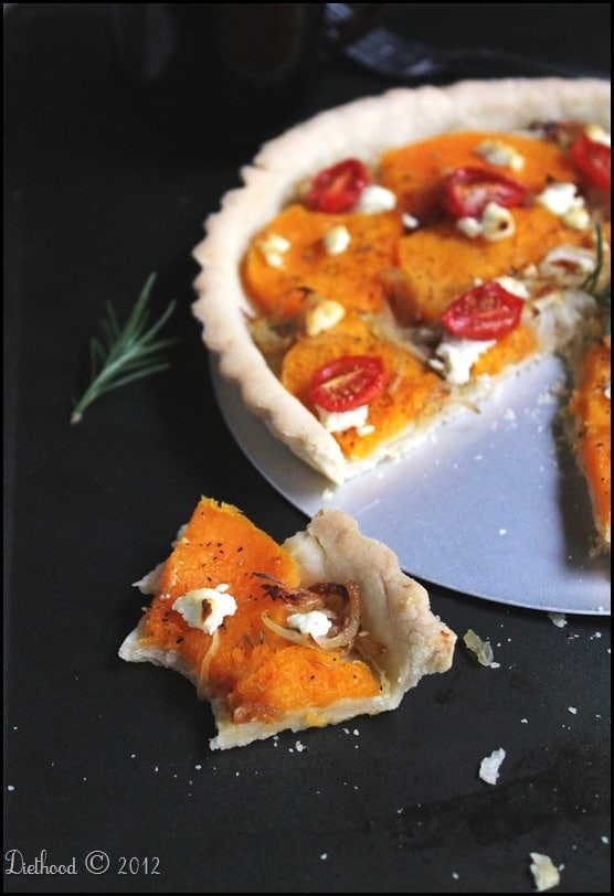 Roasted Butternut Squash Tart via diethood.com