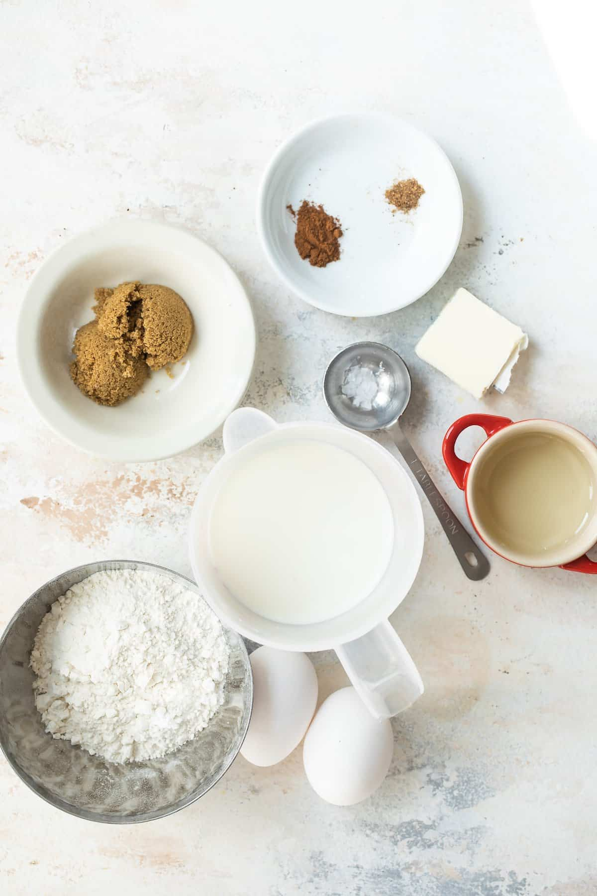 Ingredients for a Dutch baby pancake.