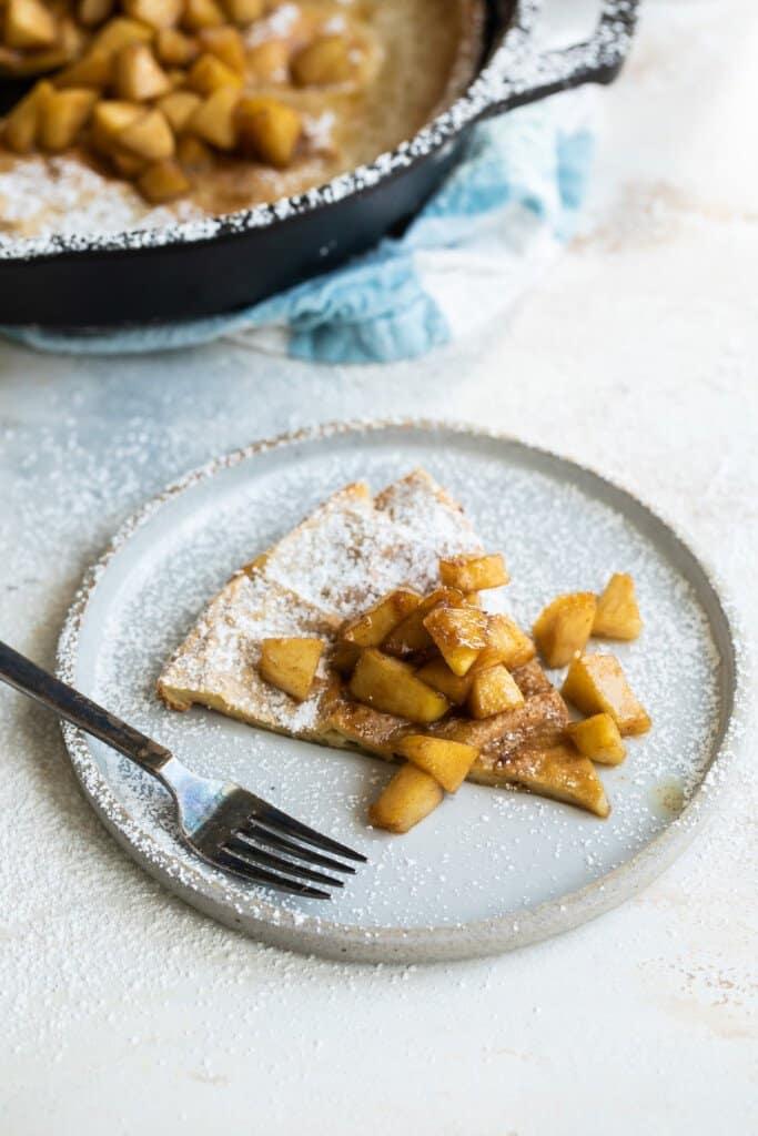Slice of Dutch baby pancake.