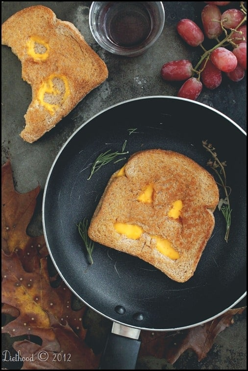 grilled cheese thumb Jack O Lantern Grilled Cheese Sandwiches and a Halloween Link Party