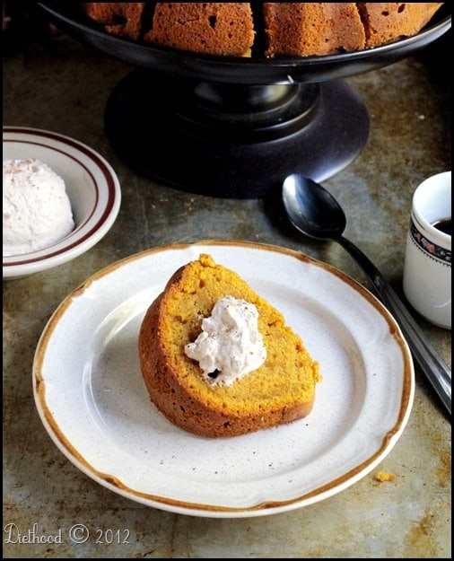 Pumpkin Spice Latte Bundt with Espresso Whipped Cream | via diethood.com