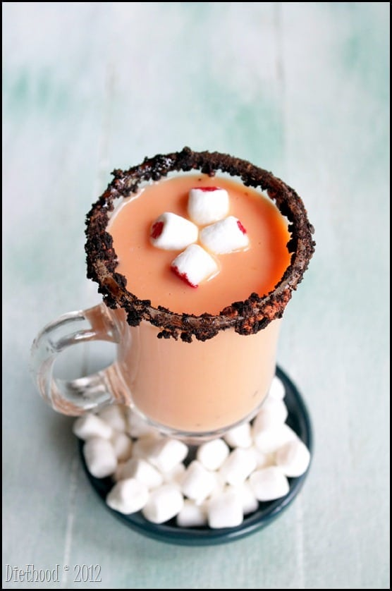 Spiked Pumpkin Pie White Hot Chocolate diethood.com