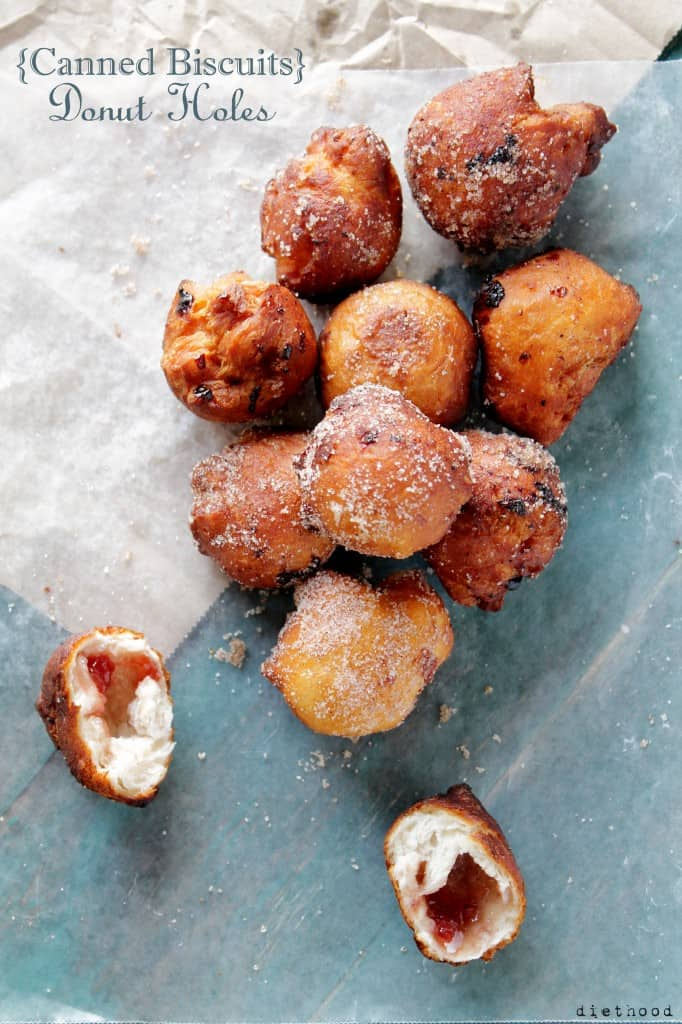 Canned Biscuits Jelly Donut Holes @diethood #doughnuts #recipe #breakfast #chocolate