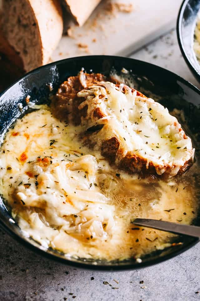 Slow Cooker French Onion Soup, bread, cheese, soup bowls
