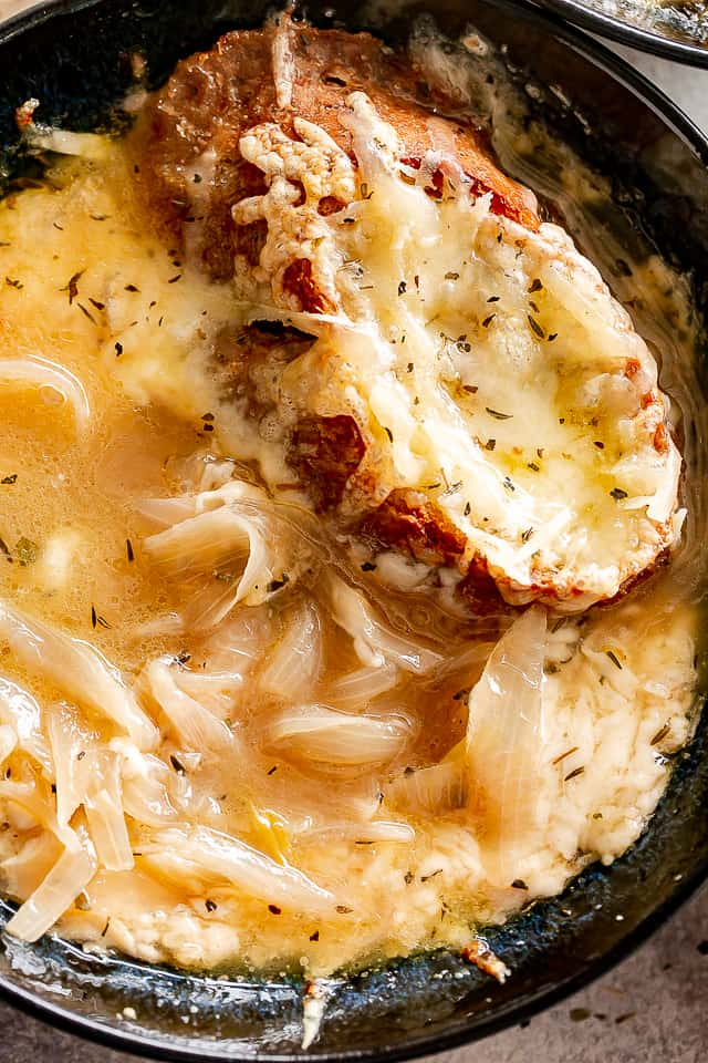 French Onion Soup in a bowl.