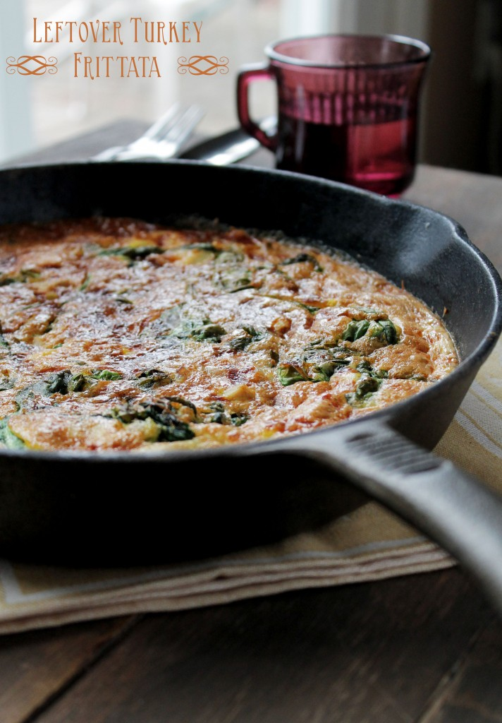 Leftover Turkey with Spinach title 712x1024 Leftover Turkey Frittata