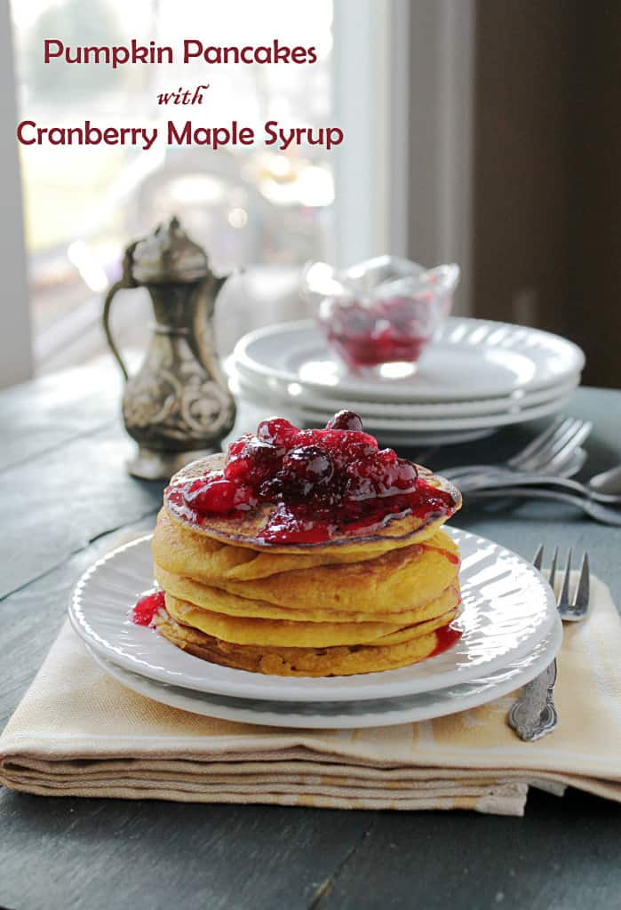 Pumpkin Pancakes with Cranberry Maple Syrup @diethood