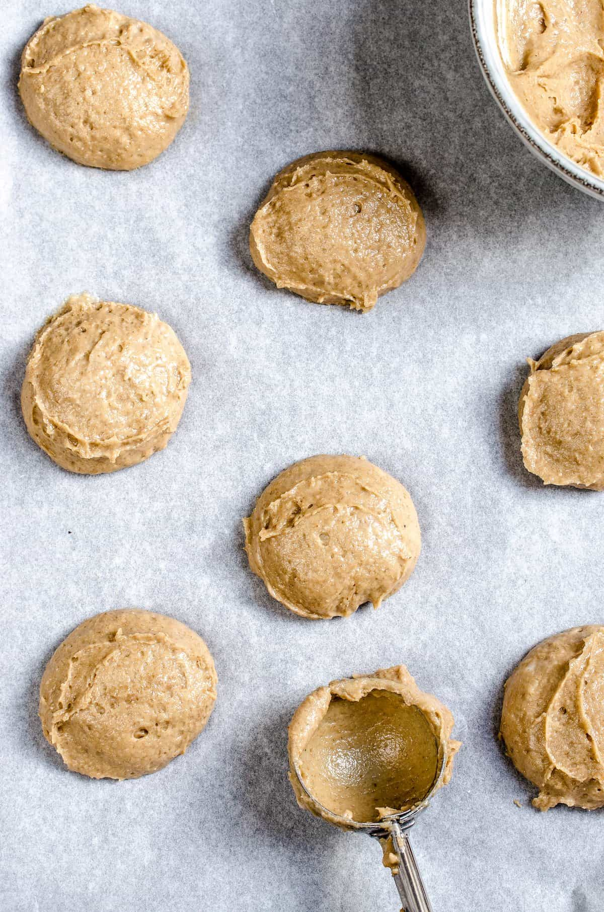 Gingerbread cookie dough on a baking sheet.