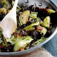 Roasted Brussel Sprouts with Bacon | www.diethood.com | #vegetables #recipe #christmas #sidedish