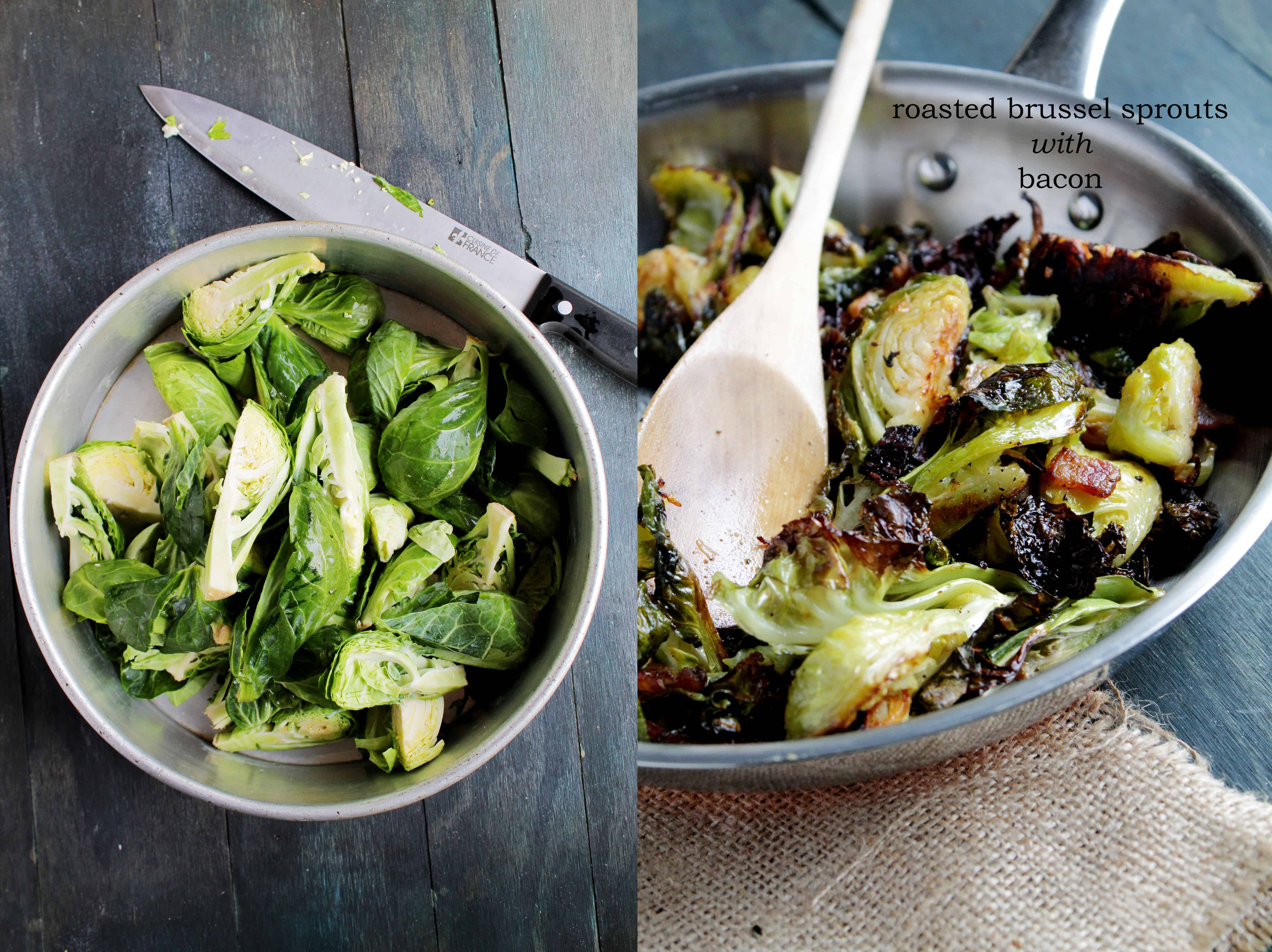 Roasted Brussels Sprouts with Bacon Recipe | diethood.com