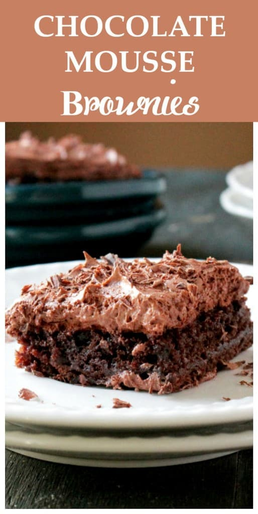 Chocolate Mousse Brownies - Fudgy brownie squares topped with a creamy, delicious chocolate mousse. Incredible little treats! Get the recipe on diethood.com