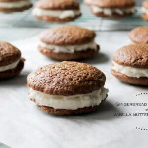 Gingerbread Whoopie Pies with Vanilla Buttercream Filling
