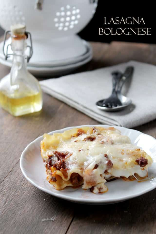 Lasagna Bolognese with Bechamel Sauce via diethood.com #recipe #lasagna #bechamel #bolognese