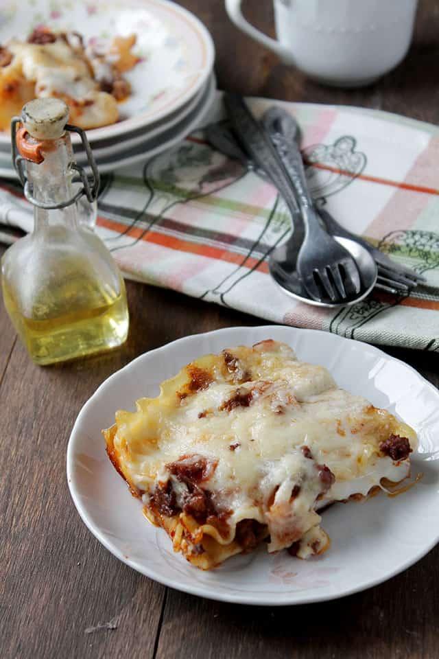 Lasagna Bolognese with Bechamel Sauce via diethood.com #recipe # ...